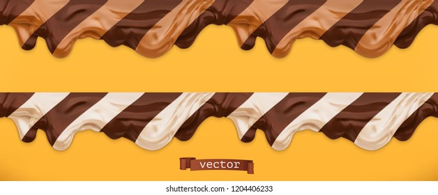 Duo chocolate spread. Caramel flows. Peanut butter. Seamless pattern 3d vector