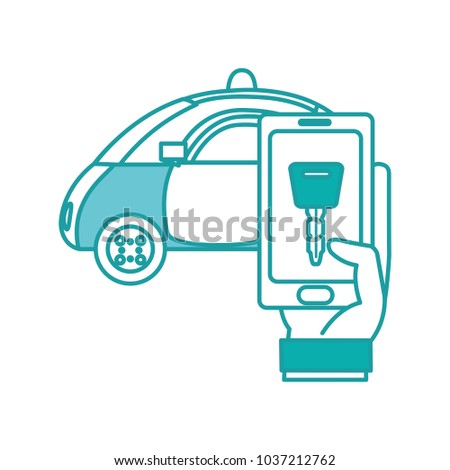 Duo Color Police Car Hand Smartphone Stock Vector (Royalty Free