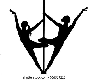 Duo female pole dancers pose on a TRANSPARENT background vector