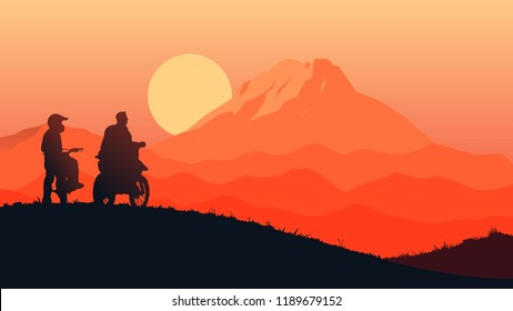 duo motocrosser sillhouetter rest and see sunrise flat style illustration vector