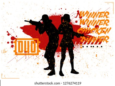 Duo woman and man in PUBG, military team, concept of games PlayerUnknown's Battlegrounds, silhouettes of military in style grunge and slogan: winner winner chicken dinner. Vector PUBG, grunge style