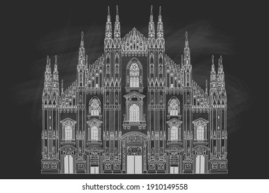 Duomo cathedral in Milan, Italy. Vector sketch. Retro style.