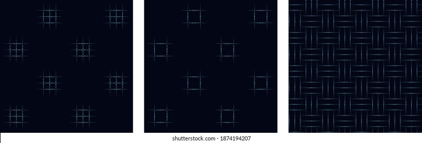 Duotone freehand drawing pattern micro dot motif simple geo design. Seamless crosshatch geometric lines texture allover print block for mens shirt, silk, chintz, cotton fabric, shop window, package.