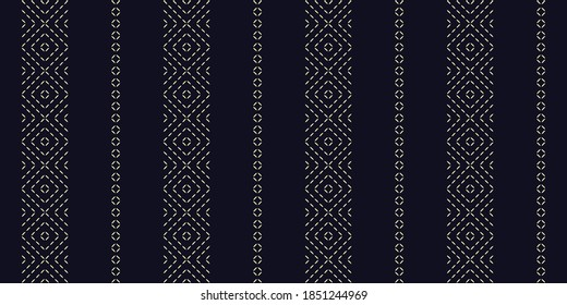 Duotone freehand embroidery pattern micro hatch line motif running stitch simple geo design. Seamless embroidered concentric texture allover print block for man shirt, ladies dress fabric, shop window