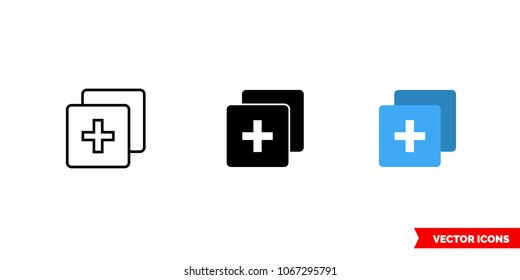 duplicate icon of 3 types color black and white outline isolated vector
