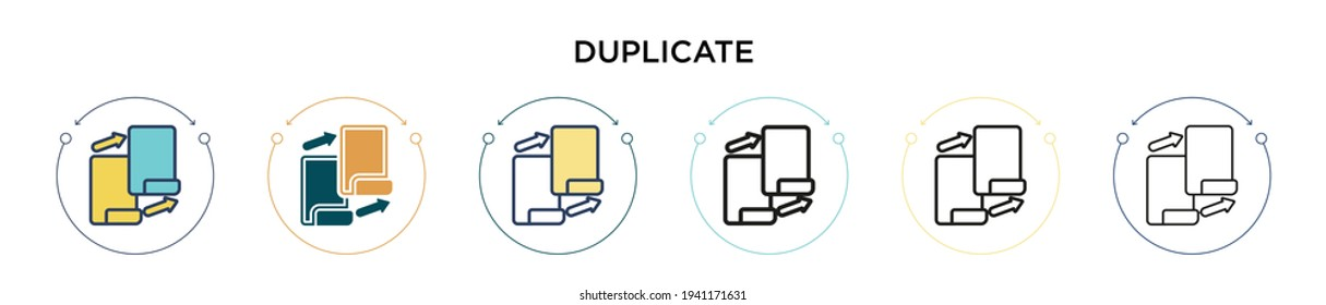 Duplicate icon in filled, thin line, outline and stroke style. Vector illustration of two colored and black duplicate vector icons designs can be used for mobile, ui, web