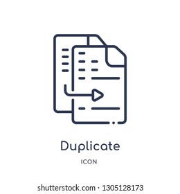 duplicate icon from programming outline collection. Thin line duplicate icon isolated on white background.