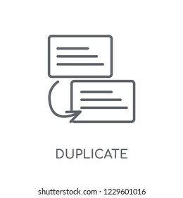 Duplicate linear icon. Modern outline Duplicate logo concept on white background from Programming collection. Suitable for use on web apps, mobile apps and print media.