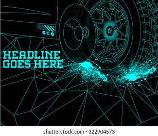 Durability Speed Tyre Design Template with Tron Effect