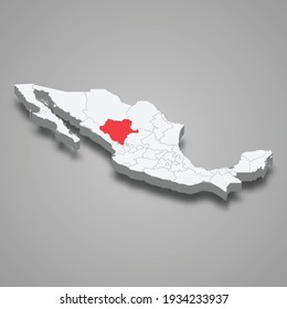 Durango region location within Mexico 3d isometric map