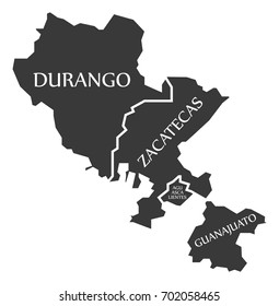 Durango - Zacatecas - Aguascalientes - Guanajuato Map Mexico illustration