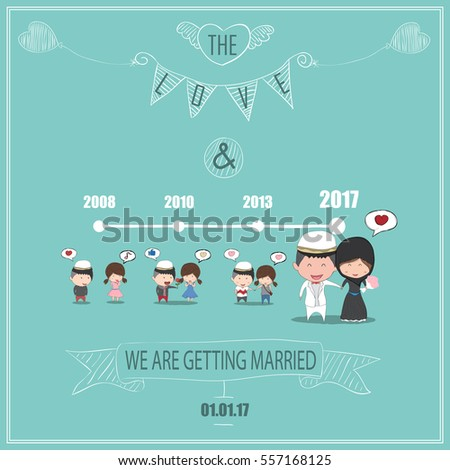 Duration Cute Cartoon Wedding Couple Men Stock Vector Royalty Free