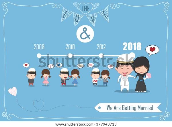 Duration Cute Cartoon Wedding Couple Men Stock Vector Royalty Free 379943713