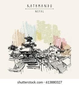 Durbar square Hindu temples in Basantapur, Kathmandu, Nepal, before earthquake. Travel sketch. Hand drawing. Vintage touristic postcard, poster, book illustration in vector