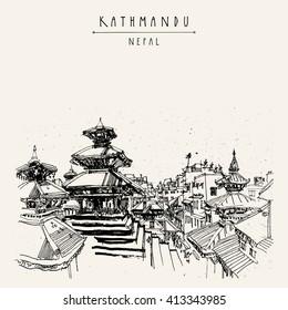 Durbar square and Maju Deval temple in Basantapur, Kathmandu, Nepal, before earthquake. Travel sketch. Hand drawing. Vintage touristic postcard in vector