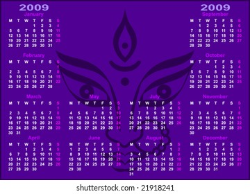 Durga Calendar 2009 with space for text, Monday start