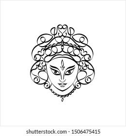 Durga Calligraphic Goddess Of Power, Divine Mother Of The Universe Vector Art Illustration