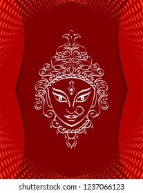 Durga Goddess Of Power, Divine Mother Of The Universe Design Vector Art Illustration