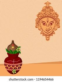 Durga Goddess Of Power, Mangal Kalash Design Vector Art Illustration
