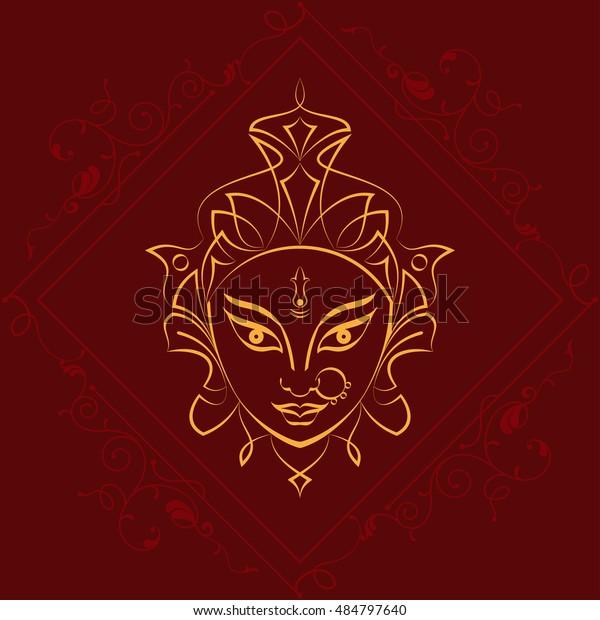 Durga Goddess Power Vector Illustration Stock Vector (Royalty Free