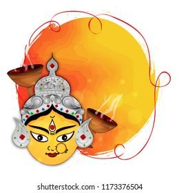 Durga Idol - Durga puja Navrata with Dhunuchi And Frame.