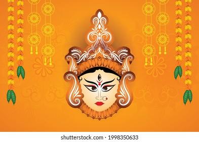 Durga Mata and Flowers Design