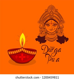 Durga puja celebration. diya with goddess Durga