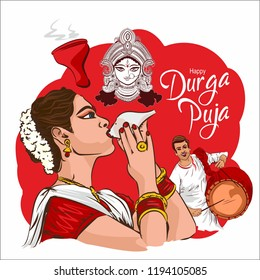 Durga puja celebration in India. creative banner