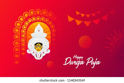 Durga Puja Festival Background Design Template with Goddess Durga Face Illustration