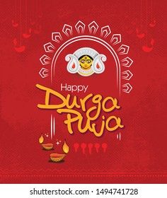 Durga Puja Festival Background Template Design with Goddess Durga Face Illustration and Lamps