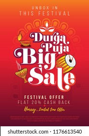 Durga Puja Festival Big Sale Poster Design Background Template A4 Size