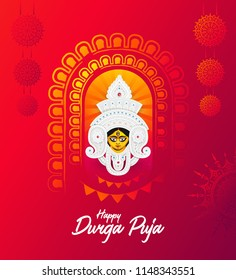 Durga Puja Festival Greeting Card Background Design Template with Goddess Durga Face Illustration