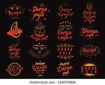 Durga Puja. Festival of India. Vector typography set for banner, logo design.