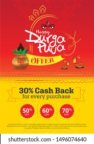 Durga Puja Festival Offer Poster Design Layout Template A4 Size Vector Illustration