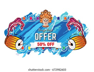 Durga Puja Offer Banner Template with Durga Face, Dhak
