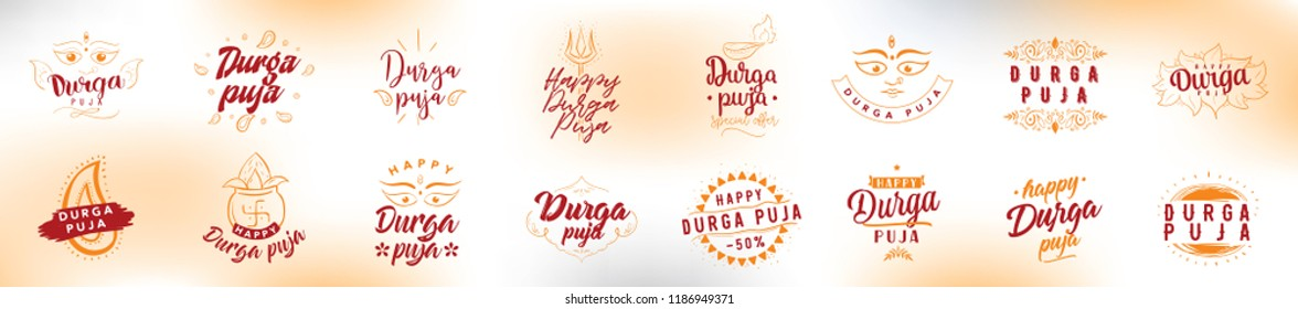 Durga Puja. Vector typography set for banner, logo design. Festival of India.