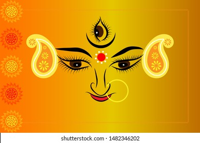 Durga puja/Navaratri/Dussehra banner/greetings card. Hindu goddess Durga traditional drawing.