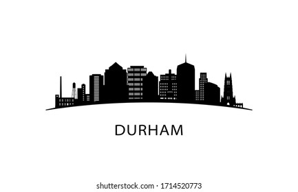 Durham city skyline. Black cityscape isolated on white background. Vector banner.