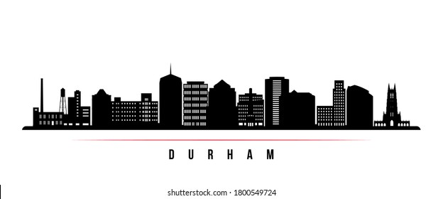 Durham skyline horizontal banner. Black and white silhouette of Durham City, North Carolina. Vector template for your design.