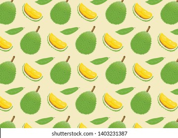 Durian vector design, Set of color  vector illustrations, icons of a durian fruit whole and peeled isolated on a white background