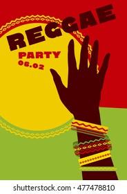 durum sun and tribal human hand with bracelets. reggae folk music background. Jamaica poster vector illustration