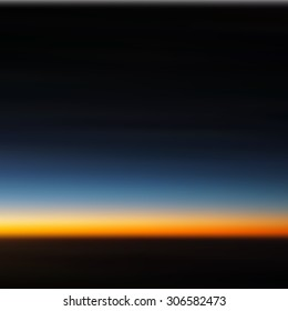 Dusk or Sunset Blurred Background. Photo vector. Evening sky, straight horizon, black, orange, blue colors. Almost night. Image for postcard, poster, party invitation, greeting, Copy space for text