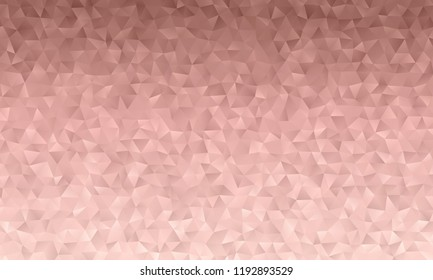 Dusky Pink Low Poly Triangle Pattern Vector Background. Pink Metallic Gradient Geometric Faceted Texture.