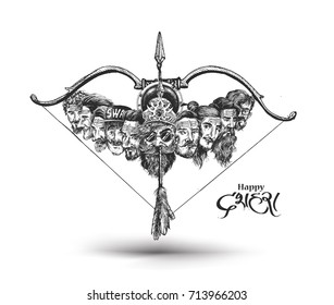 Dussehra celebration - Ravana ten heads with bow and arrow, Hand Drawn Sketch Vector illustration.