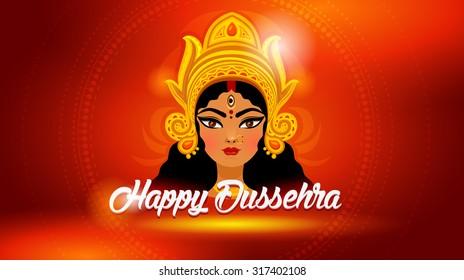 Dussehra festival celebrations. Goddess Durga for Indian festival Desshra background.