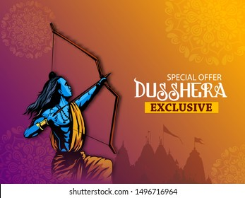 Dussehra festival sale banner or poster design Lord Rama killing Ravana in Navratri festival of India  Happy Dussehra celebration
