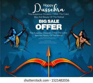 Dussehra festival Shopping sale banner or poster design Lord Rama killing Ravan in Navratri festival of India Happy Dussehra celebration. hindi text meaning 'jai shri ram' and 'Dussehra'