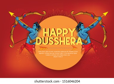 Dussehra, Lord Rama with arrow killing Ravana in Happy Dussehra