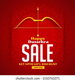 dussehra sale banner with bow and arrow