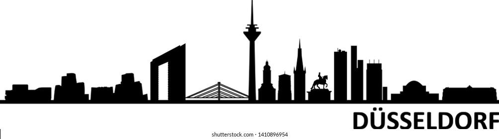 Dusseldorf City Skyline Silhouette Vector